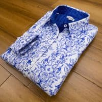 Grenouille Ladies Long Sleeve Blue Rabbit, Deer and Owl Print Stretch Cotton Shirt